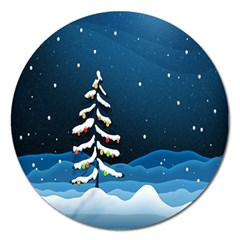 Christmas Xmas Fall Tree Magnet 5  (round)