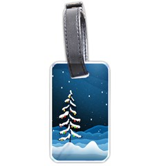Christmas Xmas Fall Tree Luggage Tags (one Side)  by Nexatart