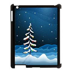 Christmas Xmas Fall Tree Apple Ipad 3/4 Case (black) by Nexatart