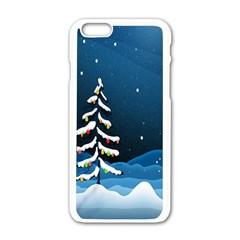 Christmas Xmas Fall Tree Apple Iphone 6/6s White Enamel Case by Nexatart