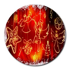 Christmas Widescreen Decoration Round Mousepads by Nexatart