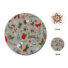 Christmas Xmas Pattern Playing Cards (round)