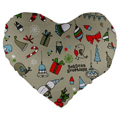 Christmas Xmas Pattern Large 19  Premium Flano Heart Shape Cushions by Nexatart