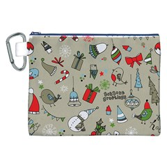 Christmas Xmas Pattern Canvas Cosmetic Bag (xxl) by Nexatart