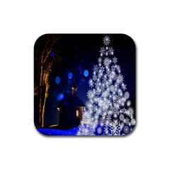 Christmas Card Christmas Atmosphere Rubber Square Coaster (4 Pack)