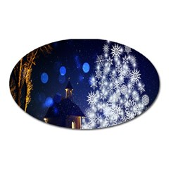 Christmas Card Christmas Atmosphere Oval Magnet by Nexatart