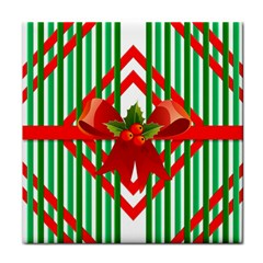 Christmas Gift Wrap Decoration Red Tile Coasters
