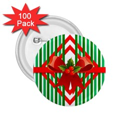 Christmas Gift Wrap Decoration Red 2.25  Buttons (100 pack)  by Nexatart