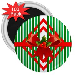 Christmas Gift Wrap Decoration Red 3  Magnets (100 Pack)