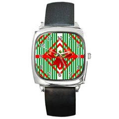 Christmas Gift Wrap Decoration Red Square Metal Watch by Nexatart