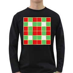 Christmas Fabric Textile Red Green Long Sleeve Dark T Shirts