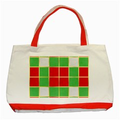 Christmas Fabric Textile Red Green Classic Tote Bag (red) by Nexatart