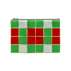Christmas Fabric Textile Red Green Cosmetic Bag (medium)