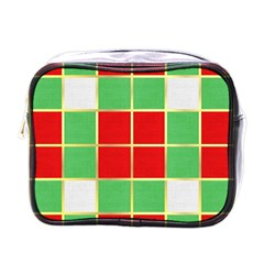 Christmas Fabric Textile Red Green Mini Toiletries Bags by Nexatart