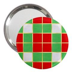 Christmas Fabric Textile Red Green 3  Handbag Mirrors