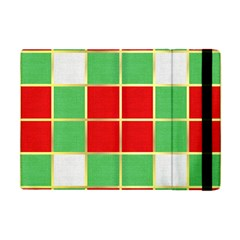 Christmas Fabric Textile Red Green Apple Ipad Mini Flip Case