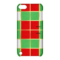 Christmas Fabric Textile Red Green Apple Ipod Touch 5 Hardshell Case With Stand
