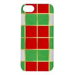 Christmas Fabric Textile Red Green Apple Iphone 5s/ Se Hardshell Case