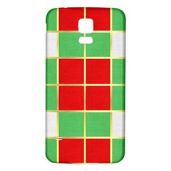 Christmas Fabric Textile Red Green Samsung Galaxy S5 Back Case (white) by Nexatart