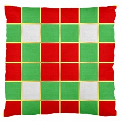 Christmas Fabric Textile Red Green Large Flano Cushion Case (two Sides) by Nexatart