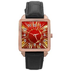 Christmas Greeting Card Star Rose Gold Leather Watch  by Nexatart