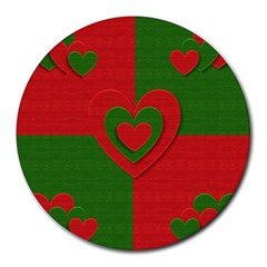Christmas Fabric Hearts Love Red Round Mousepads