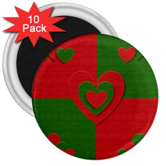 Christmas Fabric Hearts Love Red 3  Magnets (10 Pack)  by Nexatart