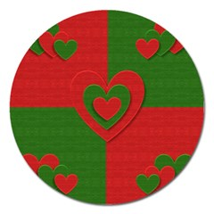 Christmas Fabric Hearts Love Red Magnet 5  (round)