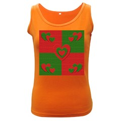 Christmas Fabric Hearts Love Red Women s Dark Tank Top by Nexatart