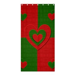 Christmas Fabric Hearts Love Red Shower Curtain 36  X 72  (stall)  by Nexatart