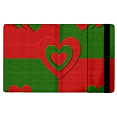 Christmas Fabric Hearts Love Red Apple iPad 2 Flip Case by Nexatart