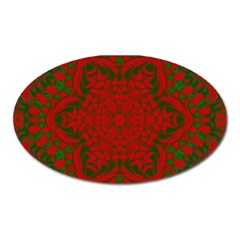 Christmas Kaleidoscope Art Pattern Oval Magnet by Nexatart