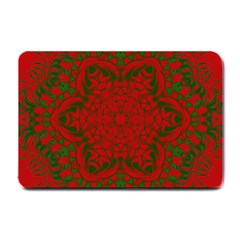 Christmas Kaleidoscope Art Pattern Small Doormat  by Nexatart