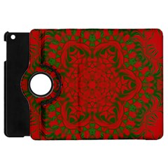 Christmas Kaleidoscope Art Pattern Apple Ipad Mini Flip 360 Case by Nexatart