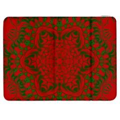 Christmas Kaleidoscope Art Pattern Samsung Galaxy Tab 7  P1000 Flip Case by Nexatart