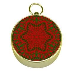 Christmas Kaleidoscope Art Pattern Gold Compasses by Nexatart