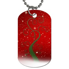 Christmas Modern Day Snow Star Red Dog Tag (two Sides) by Nexatart