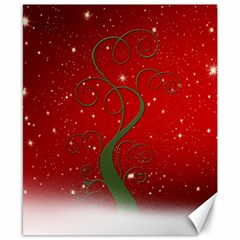 Christmas Modern Day Snow Star Red Canvas 8  X 10  by Nexatart
