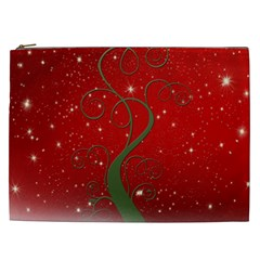 Christmas Modern Day Snow Star Red Cosmetic Bag (xxl)  by Nexatart