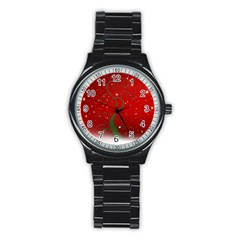 Christmas Modern Day Snow Star Red Stainless Steel Round Watch