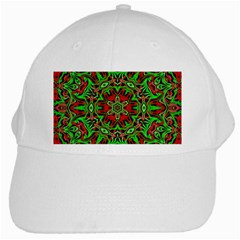 Christmas Kaleidoscope Pattern White Cap