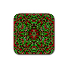 Christmas Kaleidoscope Pattern Rubber Square Coaster (4 Pack)  by Nexatart