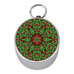 Christmas Kaleidoscope Pattern Mini Silver Compasses by Nexatart