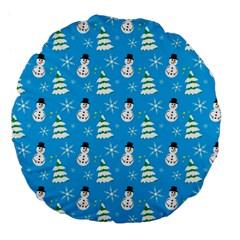 Christmas Pattern Large 18  Premium Flano Round Cushions