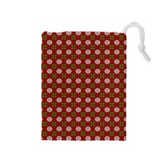 Christmas Paper Wrapping Pattern Drawstring Pouches (medium)  by Nexatart