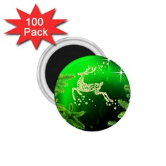 Christmas Reindeer Happy Decoration 1 75  Magnets (100 Pack)  by Nexatart