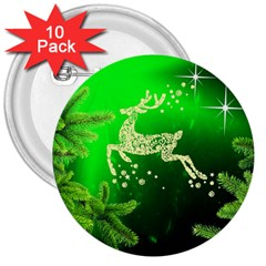 Christmas Reindeer Happy Decoration 3  Buttons (10 Pack)  by Nexatart