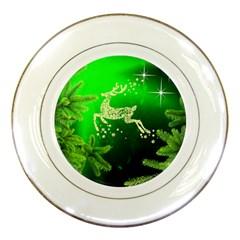 Christmas Reindeer Happy Decoration Porcelain Plates by Nexatart