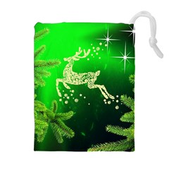 Christmas Reindeer Happy Decoration Drawstring Pouches (extra Large) by Nexatart