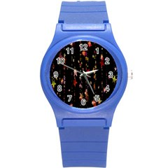 Christmas Star Advent Golden Round Plastic Sport Watch (s) by Nexatart